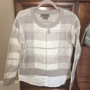 Anthropologie plaid sweater with lock button shirt